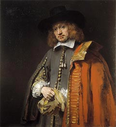 Portrait of Jan Six, 1654 by Rembrandt | Painting Reproduction