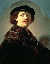 Self-Portrait in a Black Cap, 1637 by Rembrandt | Painting Reproduction