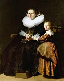 Susanna van Collen, Wife of Jean Pellicorne with Her Daughter Anna, c.1632 by Rembrandt | Painting Reproduction