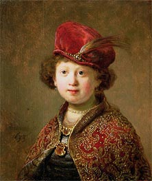 A Boy in Fanciful Costume, 1633 by Rembrandt | Painting Reproduction