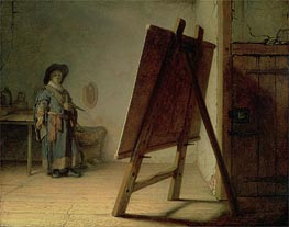 Artist in his Studio, c.1627/28 by Rembrandt | Painting Reproduction