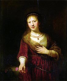 Saskia with a Red Flower, 1641 by Rembrandt | Painting Reproduction