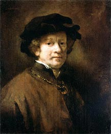 Self Portrait with Cap and Gold Chain, 1654 by Rembrandt | Painting Reproduction