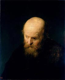 Head of a Bald, Old Man, 1632 by Rembrandt | Painting Reproduction