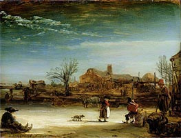 Winter Landscape, 1646 by Rembrandt | Painting Reproduction