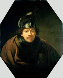 Self Portrait with Helmet, 1634 by Rembrandt | Painting Reproduction