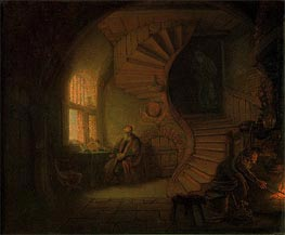 Philosopher in Meditation, 1632 by Rembrandt | Painting Reproduction
