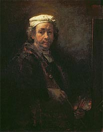 Self Portrait at his Easel, 1660 by Rembrandt | Painting Reproduction
