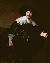 Portrait of a Seated Man Rising from his Chair | Rembrandt | Painting Reproduction