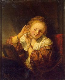 Young Woman with Earrings, 1657 von Rembrandt | Gemälde-Reproduktion