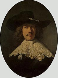 Portrait of a Young Man with a Lace Collar, 1634 von Rembrandt | Gemälde-Reproduktion