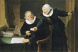 Portrait of Jan Rijcksen and his Wife, Griet Jans (The Shipbuilder and his Wife), 1633 von Rembrandt | Gemälde-Reproduktion