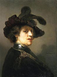 Portrait of a Man with Hat with Plume, c.1635/40 von Rembrandt | Gemälde-Reproduktion