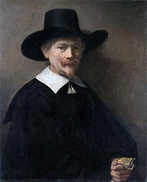 Portrait of a Man Holding Gloves, 1648 von Rembrandt | Gemälde-Reproduktion
