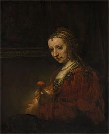 Woman with a Pink, c.1660/64 by Rembrandt | Painting Reproduction