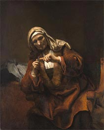 Old Woman Cutting Her Nails, 1648 by Rembrandt | Painting Reproduction