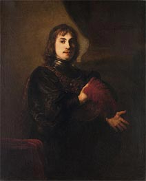 Portrait of a Man with a Breastplate and Plumed Hat | Rembrandt | Painting Reproduction