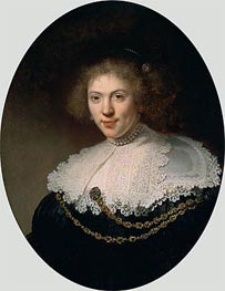 Portrait of a Woman Wearing a Gold Chain, 1634 by Rembrandt | Painting Reproduction