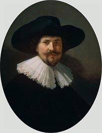 Portrait of a Man Wearing a Black Hat, 1634 von Rembrandt | Gemälde-Reproduktion