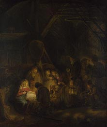 The Adoration of the Shepherds | Rembrandt | Painting Reproduction