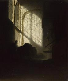 A Man Seated Reading at a Table in a Lofty Room | Rembrandt | Painting Reproduction