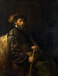 A Seated Man with a Stick | Rembrandt | Painting Reproduction