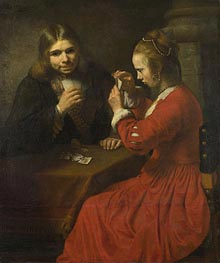 A Young Man and a Girl playing Cards | Rembrandt | Painting Reproduction