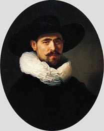 Portrait of a Bearded Man in a Wide-Brimmed Hat | Rembrandt | Painting Reproduction