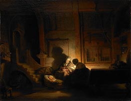 The Holy Family at Night | Rembrandt | Painting Reproduction