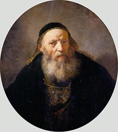 A Rabbi with a Cap | Rembrandt | Painting Reproduction