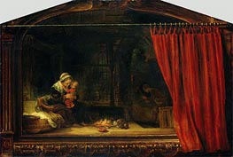 Holy Family with a Curtain | Rembrandt | Gemälde Reproduktion