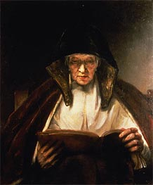 Old Woman Reading | Rembrandt | Gemälde Reproduktion