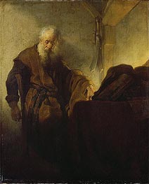 St Paul at his Writing-Desk | Rembrandt | Painting Reproduction