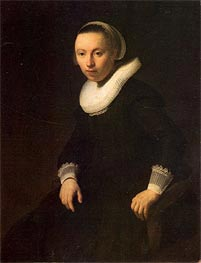 Young Woman in a Chair, 1632 von Rembrandt | Gemälde-Reproduktion