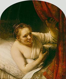 Sarah Expects Tobias in the Wedding Night, c.1645 von Rembrandt | Gemälde-Reproduktion