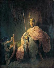 David Playing the Harp before Saul, c.1630 von Rembrandt | Gemälde-Reproduktion