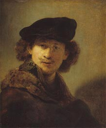 Self Portrait with Velvet Cap and a Cloak with Fur Collar, 1634 von Rembrandt | Gemälde-Reproduktion