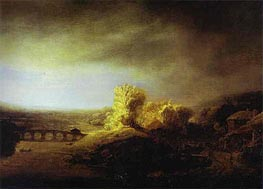 Landscape with a Long Arched Bridge, c.1630/40 von Rembrandt | Gemälde-Reproduktion