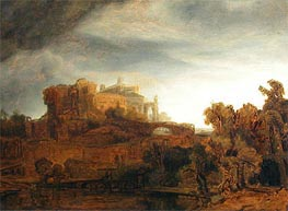 Landscape with Castle, c.1643 by Rembrandt | Painting Reproduction