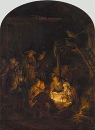 Adoration of the Shepherds, 1646 by Rembrandt | Painting Reproduction