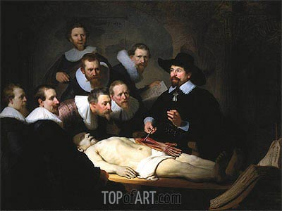 The Anatomy Lecture of Dr. Nicolaes Tulp, 1632 | Rembrandt | Painting Reproduction