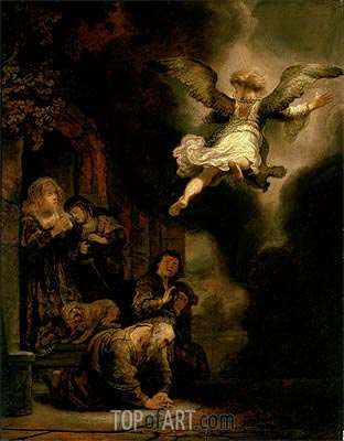 The Archangel Leaving the Family of Tobias, 1637 | Rembrandt | Gemälde Reproduktion