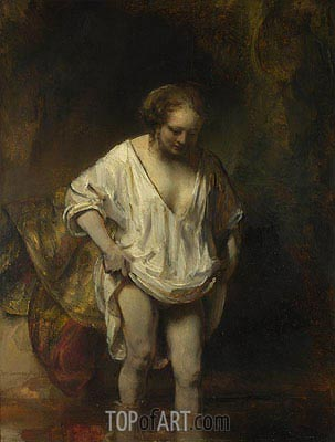 A Woman Bathing in a Stream (Hendrickje Stoffels), 1654 | Rembrandt | Painting Reproduction