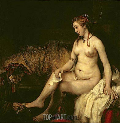 Bathsheba at Her Bath, 1654 | Rembrandt | Painting Reproduction