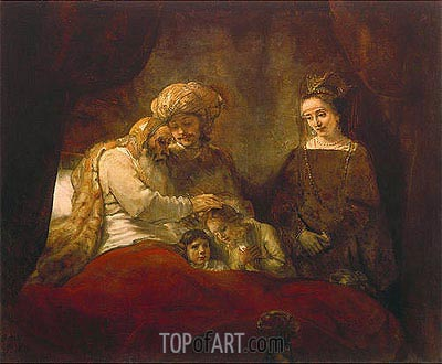 Jacob Blessing the Children of Joseph, 1656 | Rembrandt | Painting Reproduction