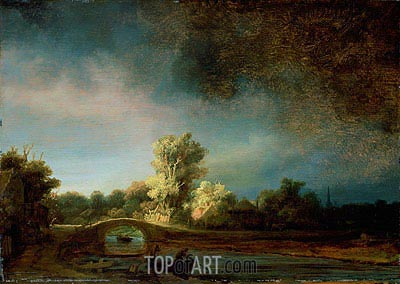 Landscape with Stone Bridge, c.1638 | Rembrandt | Gemälde Reproduktion