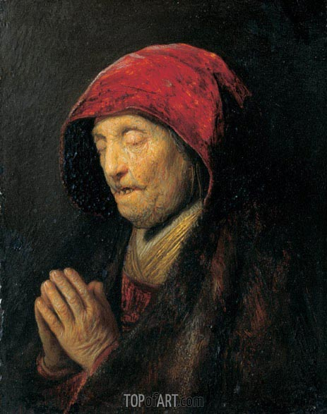 Old Woman Praying (Rembrandt's Mother Praying), c.1629/30 | Rembrandt | Gemälde Reproduktion