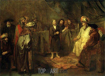 The Twelve Year Old Jesus in Front of the Scribes, c.1655 | Rembrandt | Gemälde Reproduktion