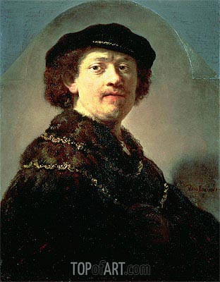 Self-Portrait in a Black Cap, 1637 | Rembrandt | Painting Reproduction