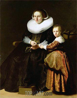Susanna van Collen, Wife of Jean Pellicorne with Her Daughter Anna, c.1632 | Rembrandt | Gemälde Reproduktion